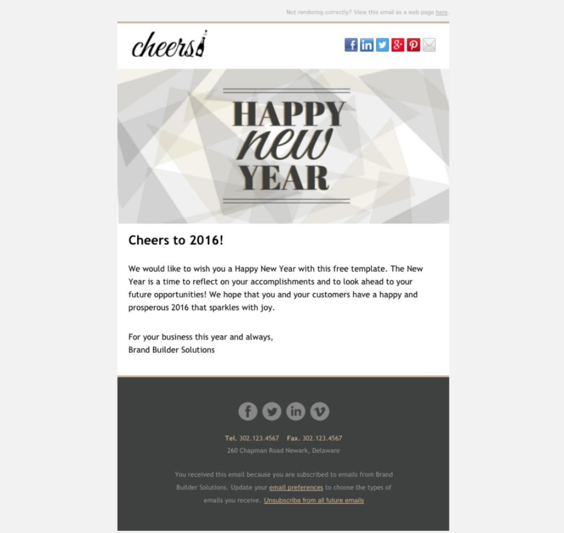 Cheers Happy New Year Email