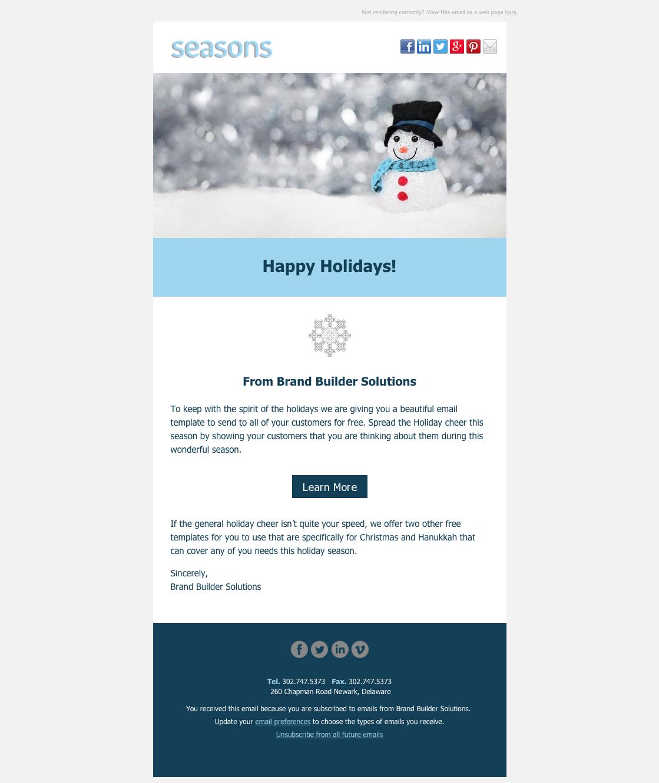 Seasons Happy Holidays Email